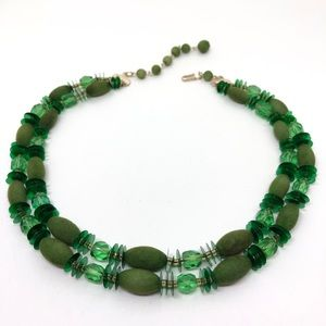 🆕Vintage Funky Double-Strand Green Necklace